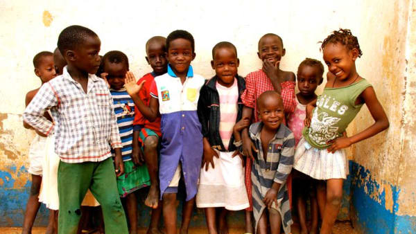 A group of orphaned children in Uganda